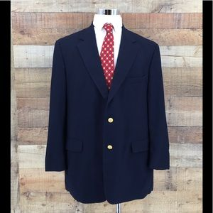 Brooks Brothers Mens Navy Gold Button Blazer Sz44R